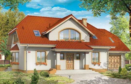 Projekt Fokus to parterowy dom jednorodzinny z poddaszem użytkowym dla rodziny 4-5cio osobowej. Dom Fokus jest wariantem popularnego projektu Faworyt - tym razem zaprojektowany jako budynek z dwuspadowym dachem i naczółkami. Często dwuspadowy dach jest jednym z wymogów stawianych przez wydziały architektury wydające pozwolenia na budowę.