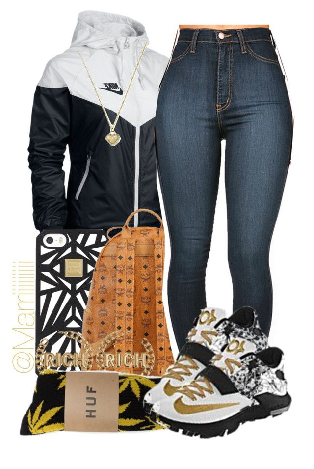 School ~2/24/15 by trill-forlife on Polyvore featuring polyvore, beauty, Hervé Léger, Michael Kors, MCM, NIKE and HUF