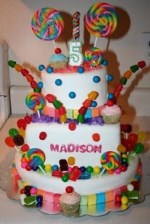 Candyland cake. If I have a little girl, Candyland will be the theme for her first birthday!