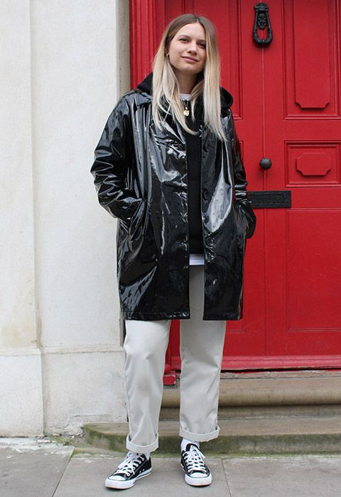 Layer up by adding a high-shine mac to your weekend wardrobe. Just like our stylist Jo Greasley, throw it on over casj skater gear for a texture mash-up: think rolled-up chinos, an oversized hoodie and Converse