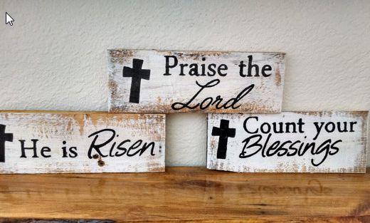 Christian Painted Pallet Board Signs - 3 Styles - $5.99. https://www.bellechic.com/deals/99a81659a9b3/christian-painted-pallet-board-signs-3-styles