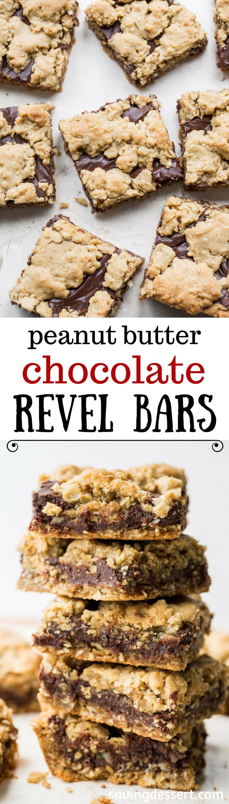 Chocolate Peanut Butter Revel Bars ~ delicious cookie bars loaded with oats, are easy to make, travel well and taste delicious!