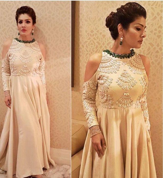 Raveena Tandon # Manish Malhotra # cold shoulder gown # Indian fashion 2016