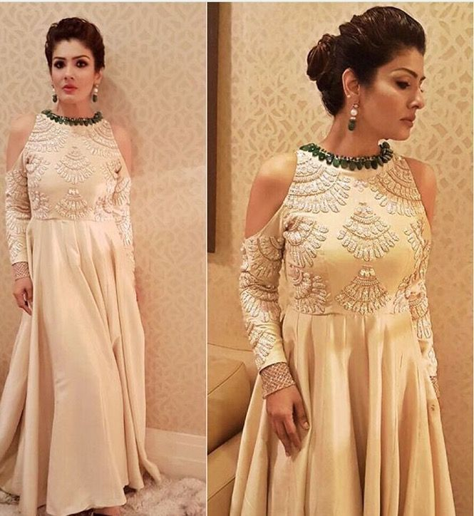 Raveena Tandon # Manish Malhotra # cold shoulder gown # Indian fashion 2016