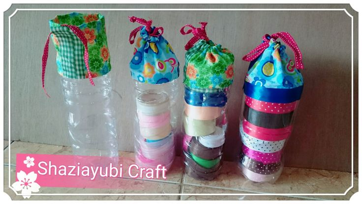 Recycle plastic bottle for my ribbon organizer . Easy to make and simple one too.😊