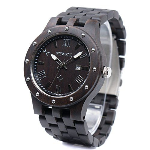 Bewell W109A Men's Wooden Watches Handmade Date Display Analog Quartz Luminous Wristwatch