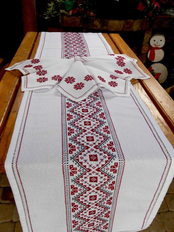 Embroidered Table Runner And Napkins Tablerunner Hand Embroidered