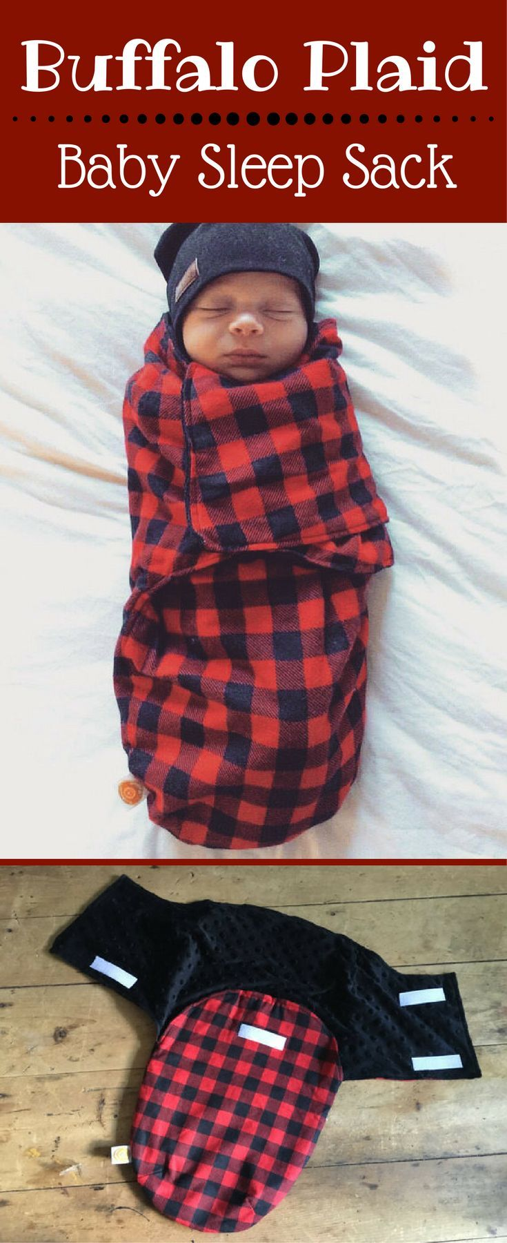 This sleep sack is so, so cute! Buffalo plaid baby sleep sack lined with minky material. Buffalo Plaid   Buffalo Check   Lumberjack Plaid   Baby Swaddle   Baby Shower Gift Ideas #buffalocheck #ad #buffaloplaideverything #babyswaddle