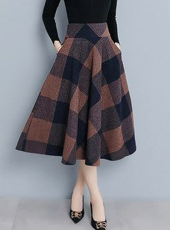 Style Color-blocked Plaid Woolen Big Hem Skirt