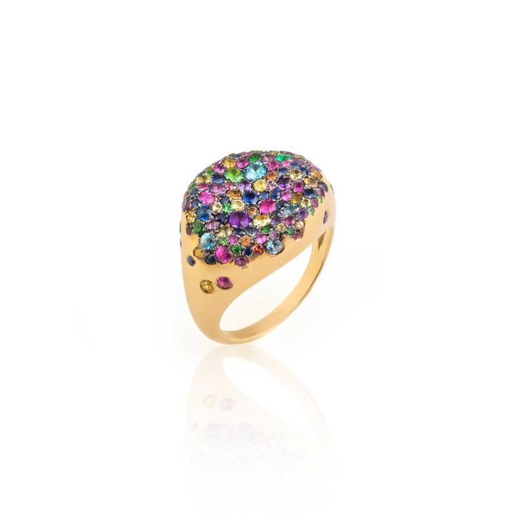 Pinky ring from Nada G's Baby Malak collection, sprinkled with multi-coloured sapphires.