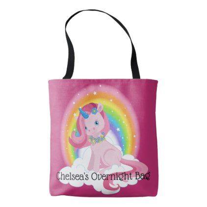 Cute Pink Unicorn and Rainbow Personalized Tote Bag - accessories accessory gift idea stylish unique custom