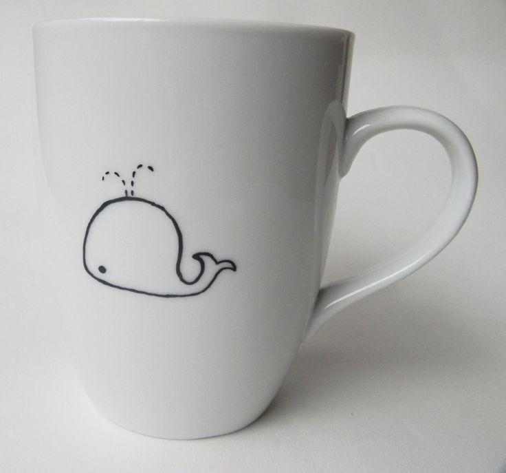Cute Whale, hand painted personalized white porcelain mug. $27.00, via Etsy.