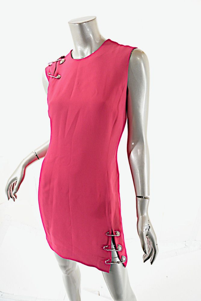 d79b0b6a03d2 GIANNI VERSACE Couture Fuchsia Acetate Rayon Blend Sheath Safety Pin Dress  US 4 #GianniVersaceCouture #SheathDressBondage #Versatile