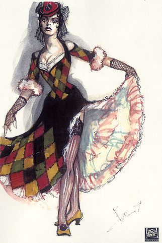 Moulin Rouge Costume Art by Catherin Martin & Angus Strathie She's Harlequin's Lady, Columbine.