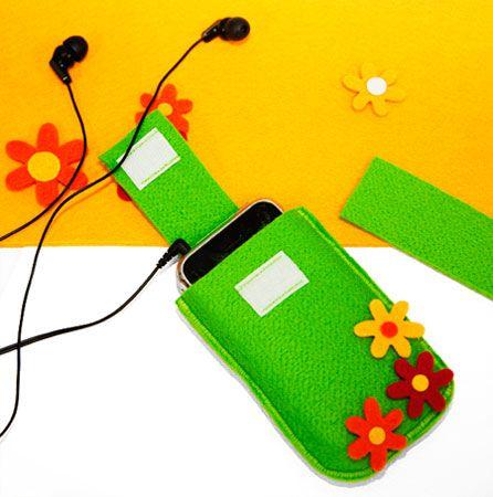 Frühlingshafte Tasche für Handy und iPod zum selbernähen