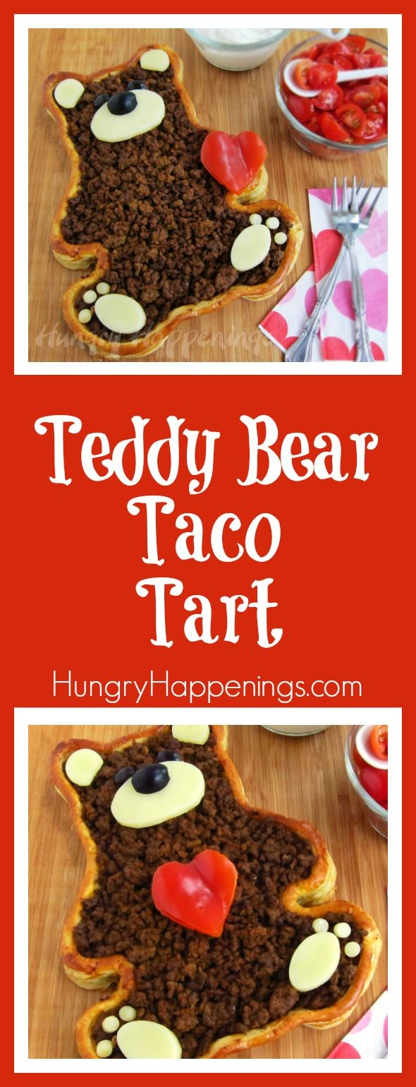 There are other ways of showing love besides giving sweets! This Teddy Bear Taco Tart is a perfect example of that, make your loved ones a delicious dinner show them what they mean to you.