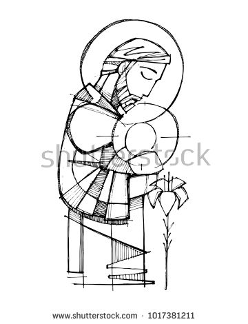 Hand Drawn Vector Ink Illustration Or Drawing Of Saint Joseph And