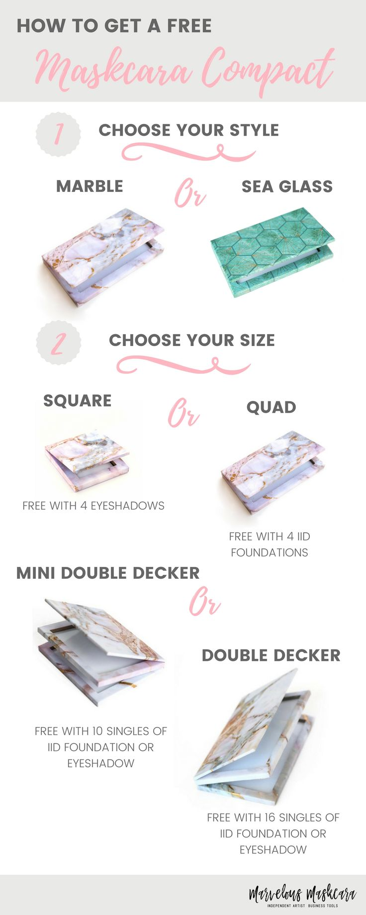 How to Get a Free Maskcara Compact | Maskcara Beauty | Simple Minimalist Makeup Palette and Compact| Square, Quad, Mini Double Decker, Double Decker | Free Magnetic Makeup Compact when you buy...