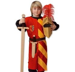 Lancelot riddervest - rød med gule striber