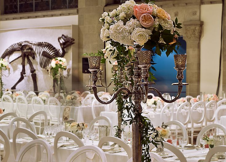 Amazing décor from a recent wedding at The ROM. Wouldn't you like to have dinosaurs in your backdrop?