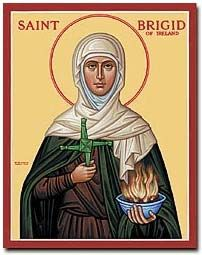 BRIGID, the Irish goddess of scintillation,  to have been conflated with the traditions surrounding the semi-mythical Saint Brigit (called Saint Bride in England). Of the fifteen Irish saints bearing her name, the most significant is Saint Brigid of Kildare (said to have died in AD 525),