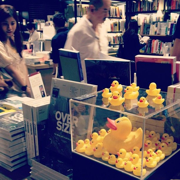 Cute rubber duck setting for book promotion at Eslite HK