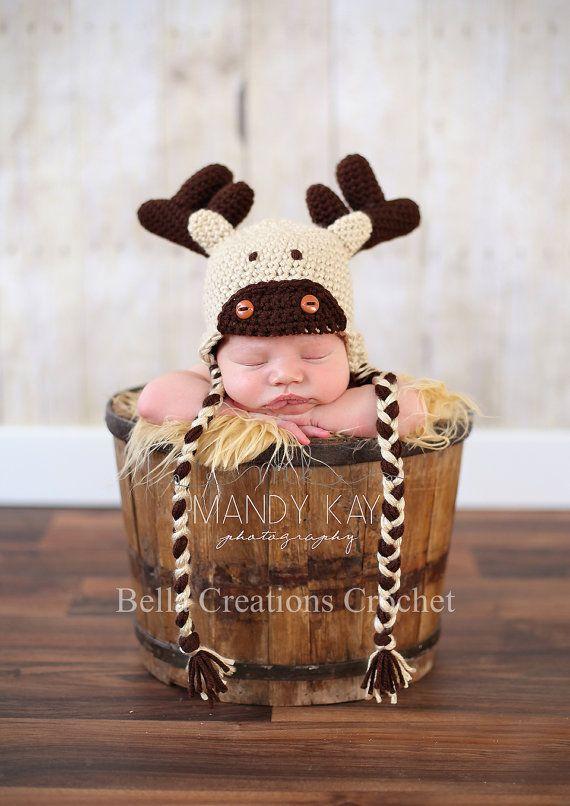 Mr. Moose Hat by BellaCreationsCroche on Etsy, $18.00