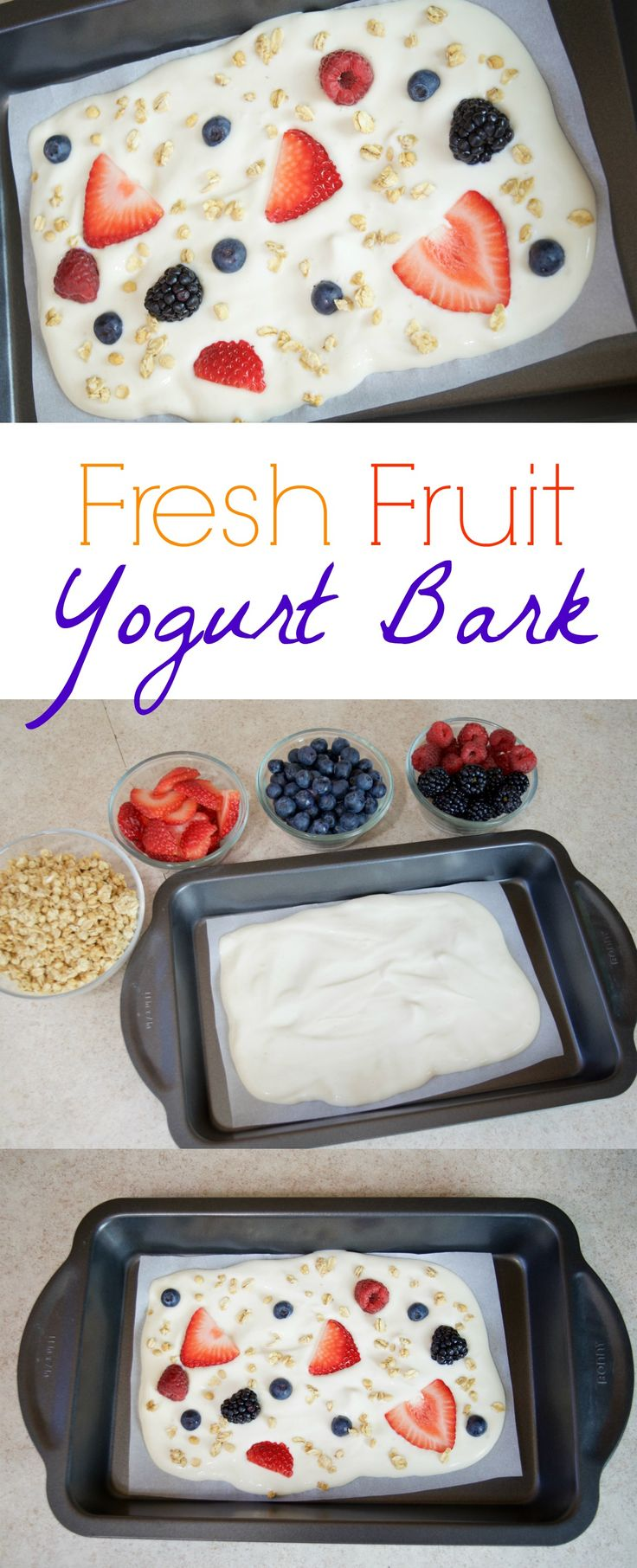 Fresh Fruit Yogurt Bark Recipe - perfect frozen treat for kids, gluten free diets, organic snack, keto diet, and more! It literally only takes a minute to prep then freeze for later! Ad