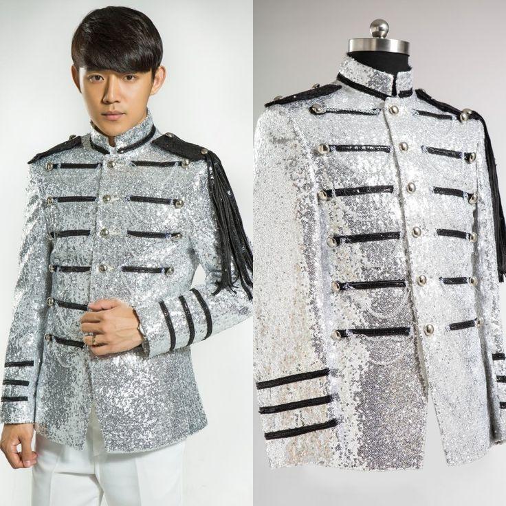 Костюмы серебряная маска лучи блестящие кусок континентальный певцы-мужчины платье блестящие смокинг мужская серебряный смокинг встроенная XF09