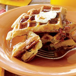 Bacon Waffles   Crumble cooked bacon into a simple waffle batter for a salty-sweet treat that satisfies every craving.