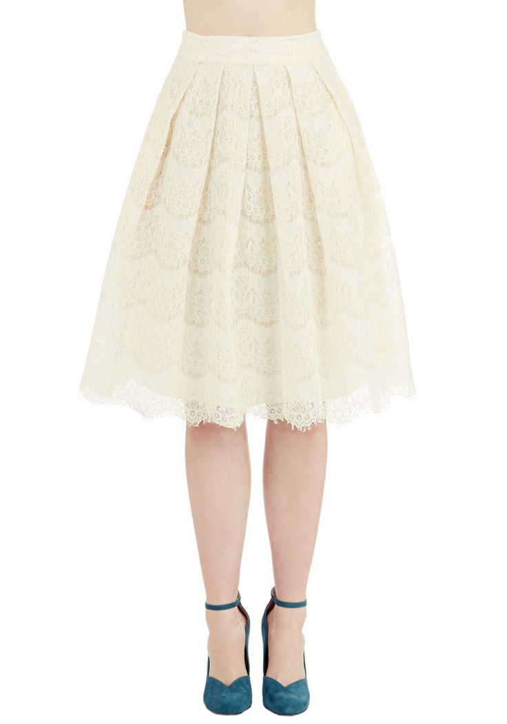 Ethereal Essayist Skirt by Ryu - Long, Woven, Lace, Cream, Solid, Lace, Pleats, Wedding, Party, Holiday Party, Bride, 50s, Darling, Full, Fall, Winter, Better, White, Vintage Inspired