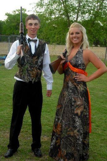 Camouflage Prom Dresses | awkward prom photo camo and shotgun