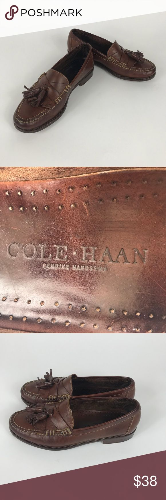 Cole Haan 7.5 M Handsewn Brown Tassel Loafers Good condition pre owed Cole Haan Handsewn Tassel Loafers! Men's size 7.5 M. Pick these up at 1/4 the price of new!  Thanks for looking and please check out my other Cole Haan shoes! Cole Haan Shoes Loafers & Slip-Ons
