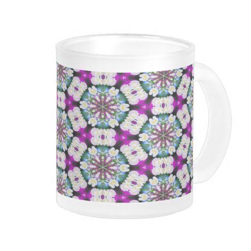 Purpel blue white checked flowery pattern No11 #Mug