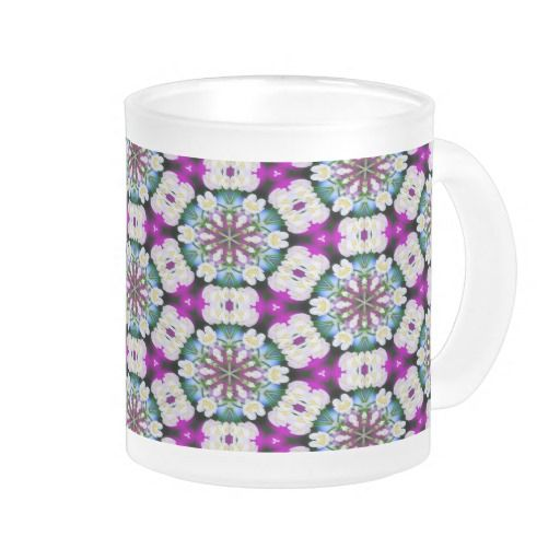 Purpel blue white checked flowery pattern No11 #Mug