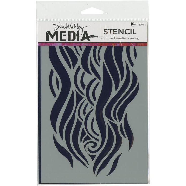 Dina Wakley - Stencil - Mighty Wave