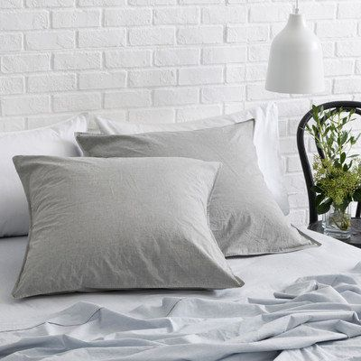 2 Pack of Smokey Grey Melange Vintage Cotton Euro Pillow Cases by Canningvale. Get it now or find more Pillowcases at Temple & Webster.
