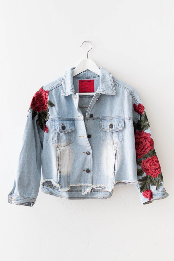 Emory Park Clothing Light denim cropped distressed jacket with rose appliques \\ from Love Street Apparel \\ $65