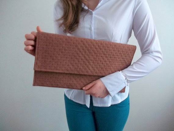 Clutch Bag eco suede perforated Handbag has two magnetic by ILAJLA, $28.00