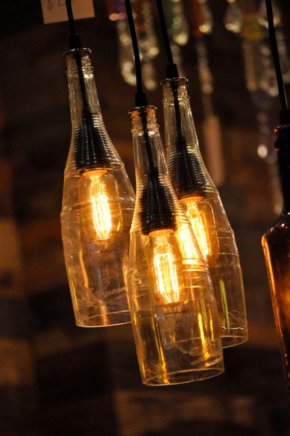 Recycled Wine Bottle Hanging Lamp with Edison Lightbulb Industrial Lighting Chandelier on Etsy, $319.00