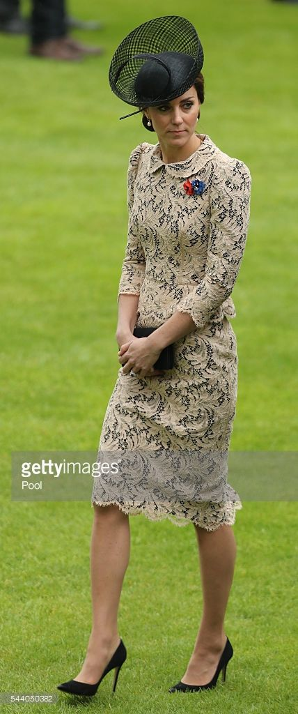 Catherine, Duchess of Cambridge attends a service to mark the 100th anniversary of the beginning of the Battle of the Somme at the Thiepval memorial to the Missing on July 1, 2016 in Thiepval, France. The event is part of the Commemoration of the Centenary of the Battle of the Somme at the Commonwealth War Graves Commission Thiepval Memorial in Thiepval, France, where 70,000 British and Commonwealth soldiers with no known grave are commemorated. (Photo by Chris Radburn - Pool/Getty Images)