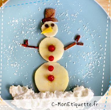 Le bonhomme de neige : poire, groseilles, noix de coco et chantilly