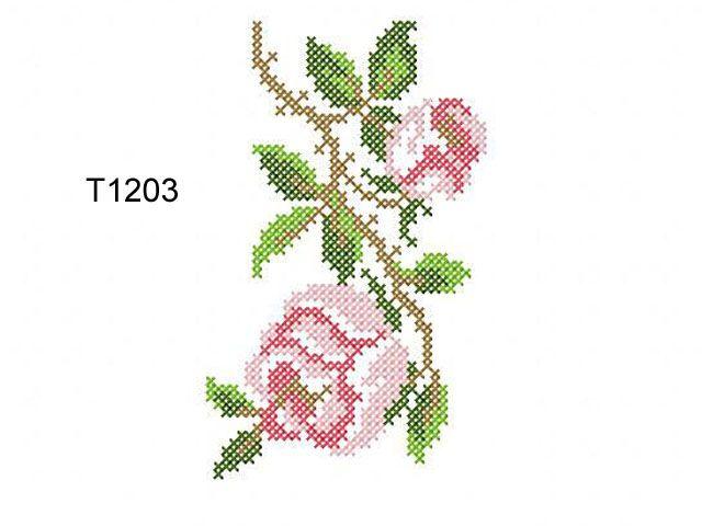 """Roses in the Cross Stitch Technique""   Machine embroidery design"