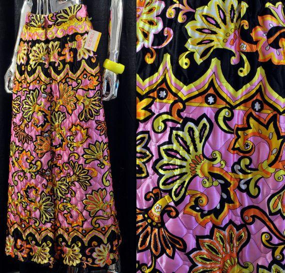 60s gewatteerde Maxi rok  Vintage 1960s Bright door JSWvintage