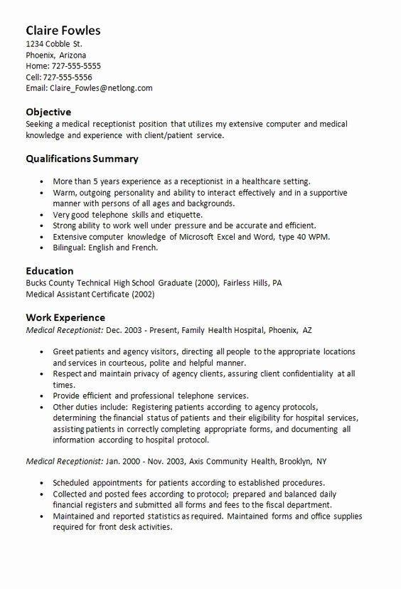 23 medical receptionist resume example in 2020