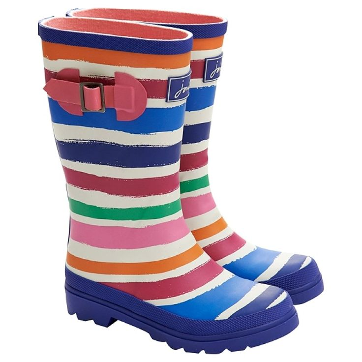 Joules Multi-Coloured Stripey Girls' Wellies | Adorable, fun Wellington Boots perfect for autumn walks to school