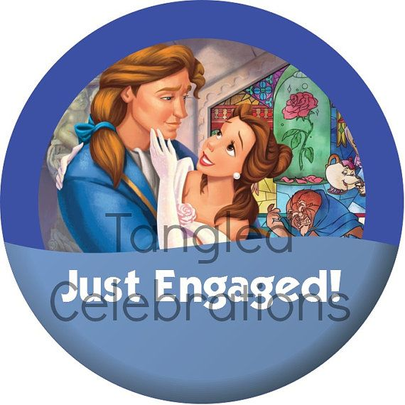 Beauty & The Beast/Belle + Prince Adam Just Engaged Walt Disney World Celebration Button Pin *DIGITAL DOWNLOAD*. $2.40