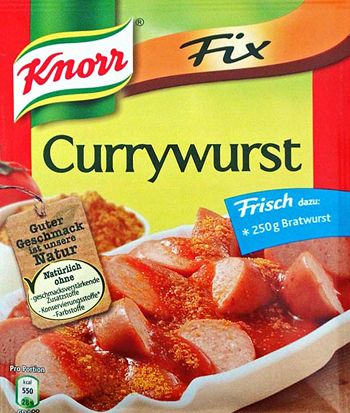 "CURRYWURST is a fast-food German dish consisting of sausage with curried sauce on it, sold from lunch stands called ""Imbissstände."" It is particularly popular in Berlin. Many say that a good Currywurst is more about the sauce, than the sausage. http://www.cooksinfo.com/currywurst"