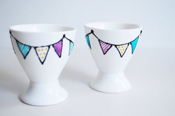 Set of 2 Porcelain Egg Cups   hand drawn/decorated by perchdecor, $15.00