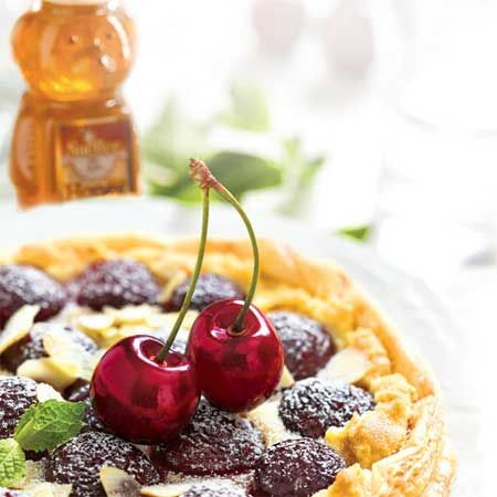 Cherry Tart with Goat Cheese Honey Filling. Fabulous!
